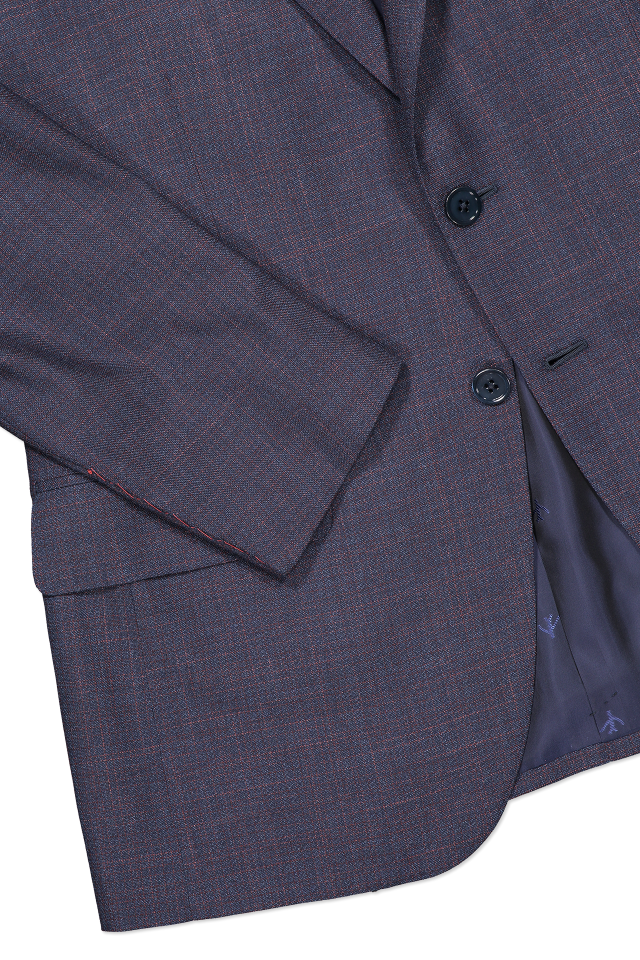 Hemline and cuff detail image of Isaia Navy Silky Linen Suit
