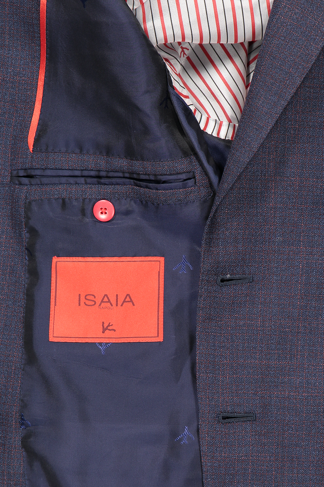 Interior pocket detail image of Isaia Navy Silky Linen Suit