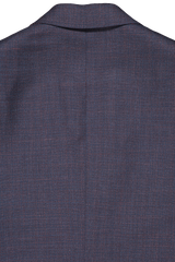 Back collar detail image of Isaia Navy Silky Linen Suit