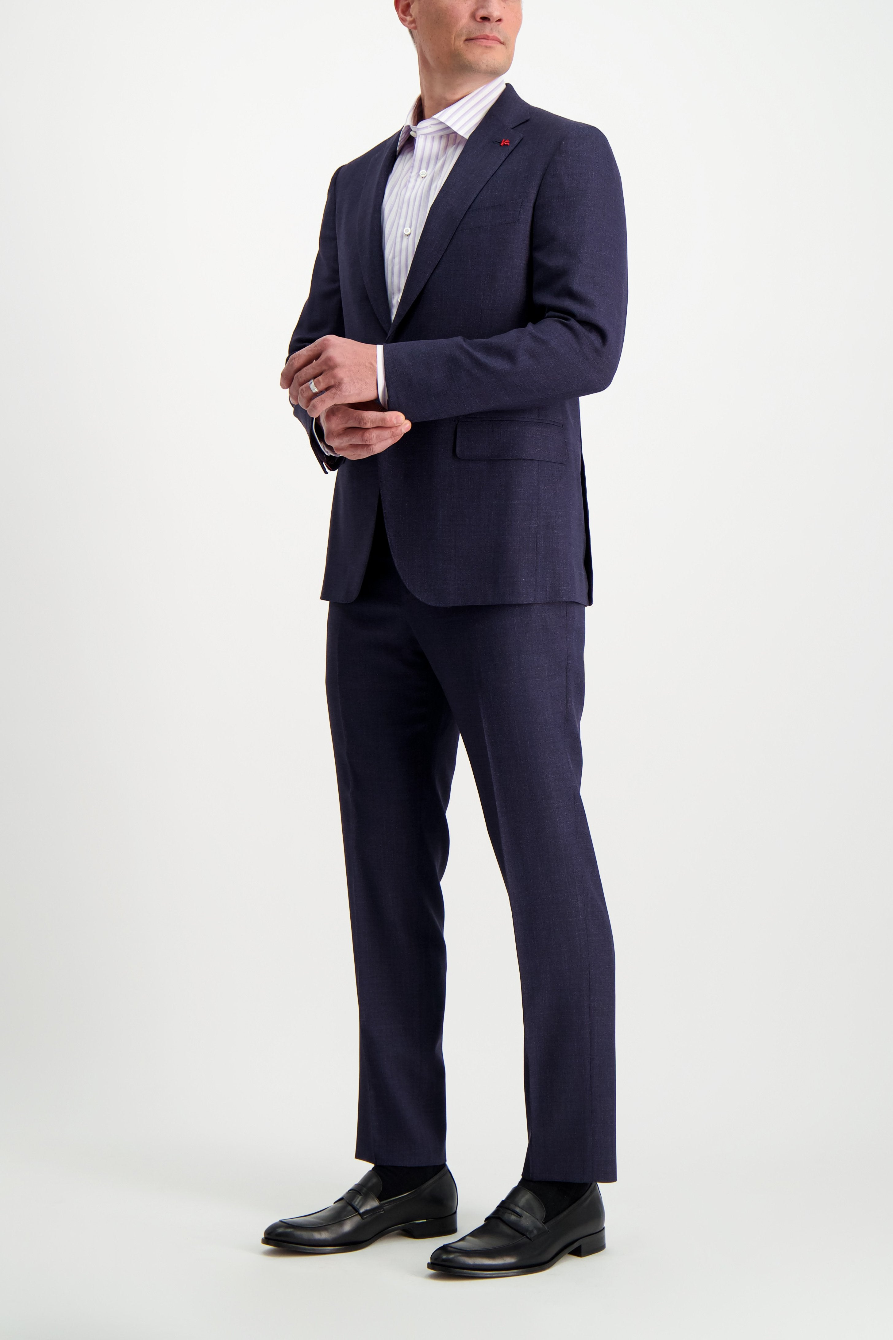 Full Body Image Of Model Wearing Isaia Navy Silky Linen Suit