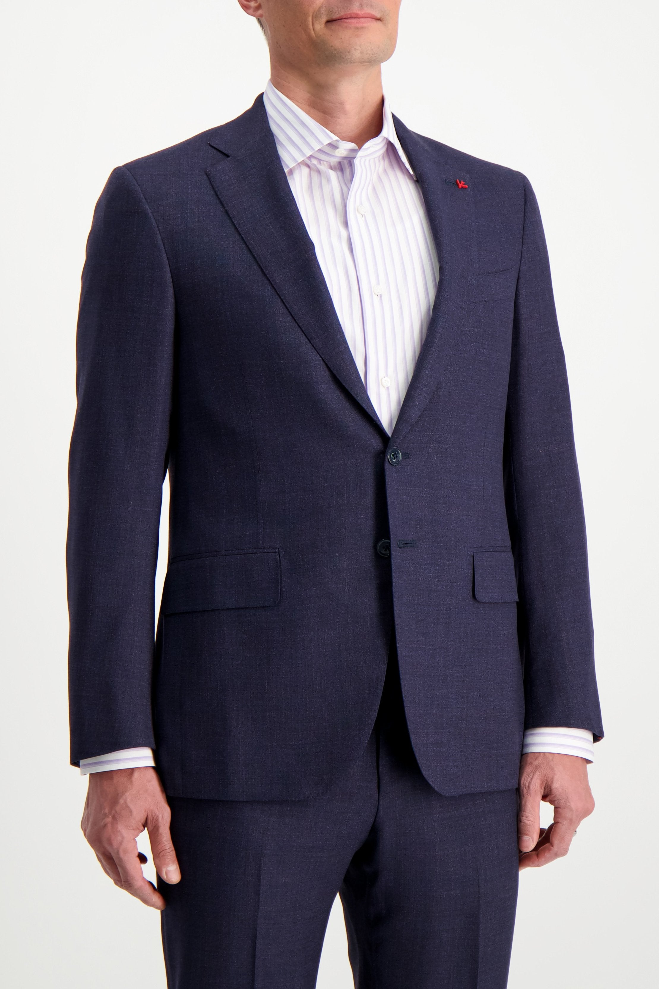 Front Crop Image Of Model Wearing Isaia Navy Silky Linen Suit