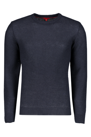 Front Image Of Isaia Navy Solid Wool Linen Sweater