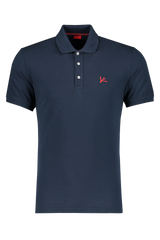 Front Image Of Isaia Navy With Red Coral Logo Polo