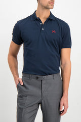 Front Crop Image Of Model Wearing Isaia Navy With Red Coral Logo Polo