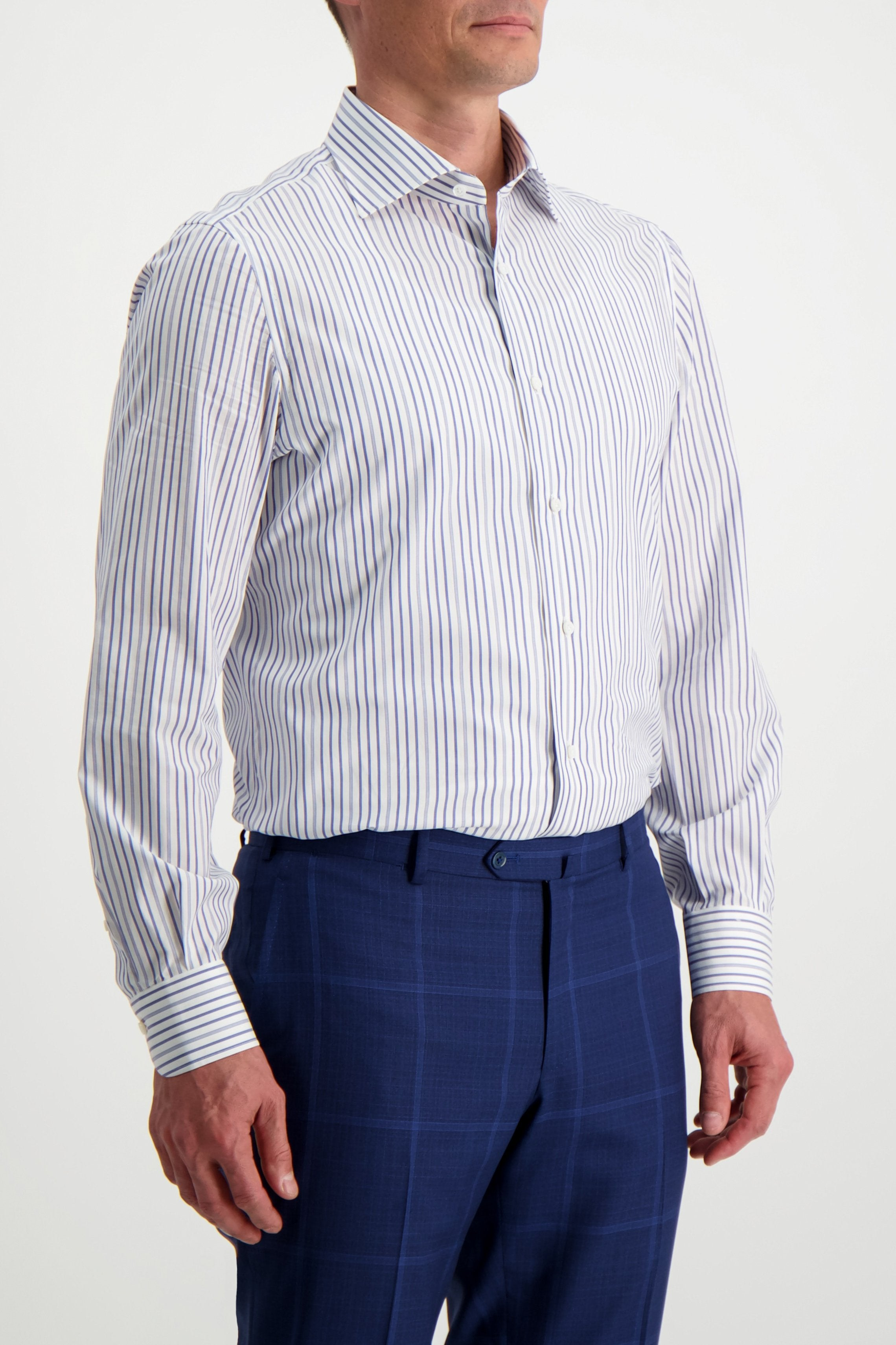 Front Crop Image Of Model Wearing Isaia Purple/Grey Stripe Woven