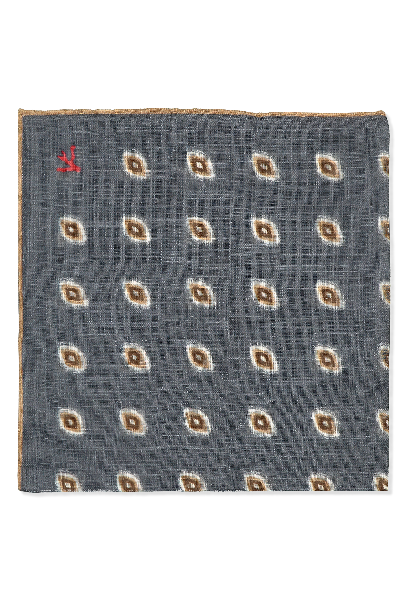 Front view image of Silver Tan Foulard Pocket Square