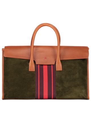 Suede Overnight Bag with Red Stripes