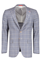 Front view image of Isaia Tan Blue Gingham Dandy Sport Coat