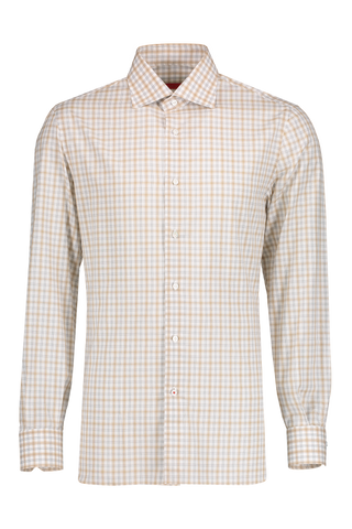 Front Image Tan/Charcoal Check Woven