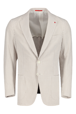 Front Image Of Isaia Tan White Seersucker Sport Coat