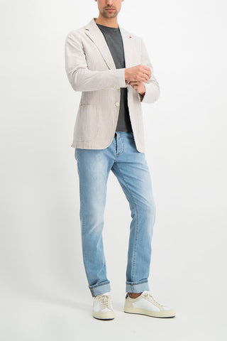 Full Body Image Of Model Wearing Image Of Isaia Tan White Seersucker Sport Coat