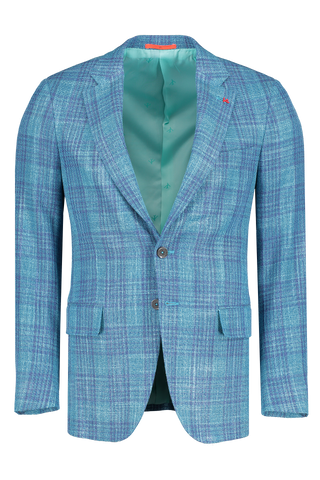 Front view image of Isaia Teal Blue Jacket