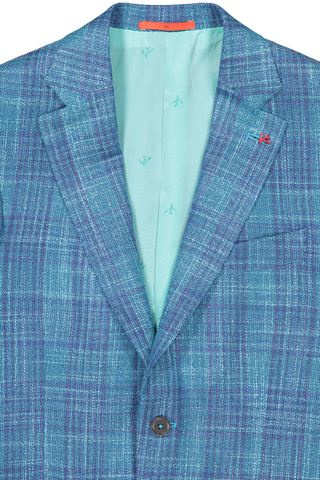 Front collar and lapel detail image of Isaia Teal Blue Jacket