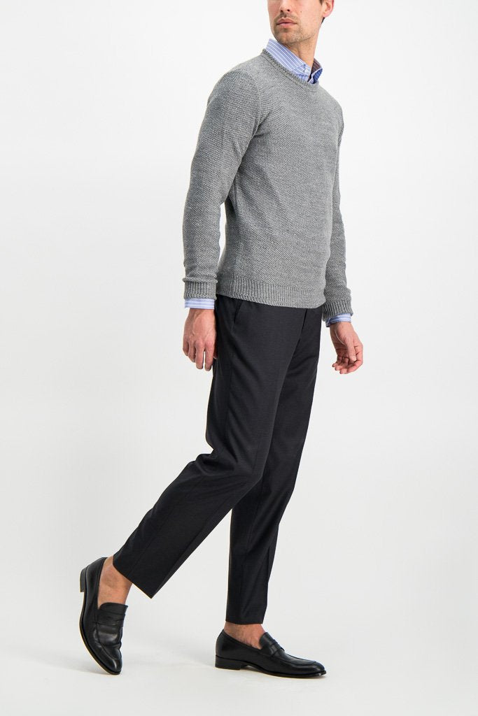 Full Body Image Of Model Wearing Isaia Trouser Dark Grey