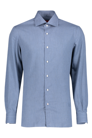 Front view image of Isaia Uniti Extralight Flannel Shirt Blue