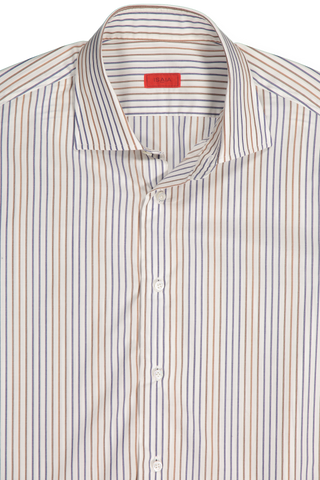 Neck Detail White with Tan/Blue Stripe Woven