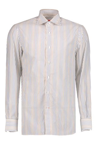 Front Image White with Tan/Blue Stripe Woven