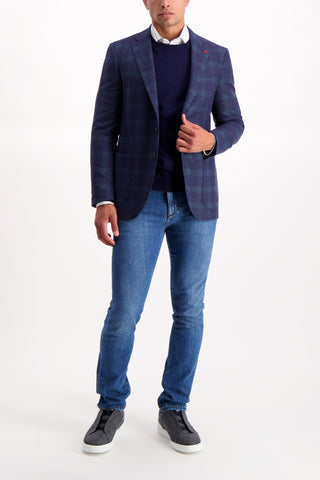 Full Body Image Of Model Wearing Hopsack Navy/Green Windowpane Sportcoat