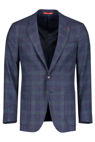 Front Image Winter Hopsack Navy/Green Windowpane Sportcoat