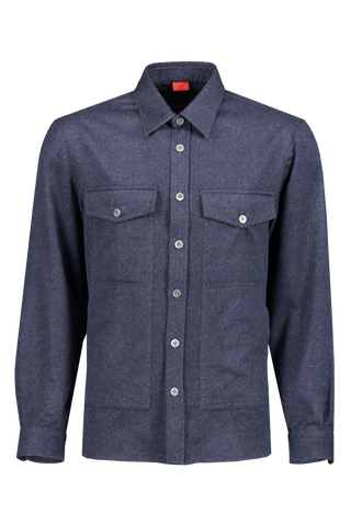 Front image of Isaia Wool Cashmere Overshirt Navy
