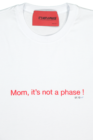 Front collar detail image of It's Not A Phase Short Sleeve Mom Its Not A Phase Tee