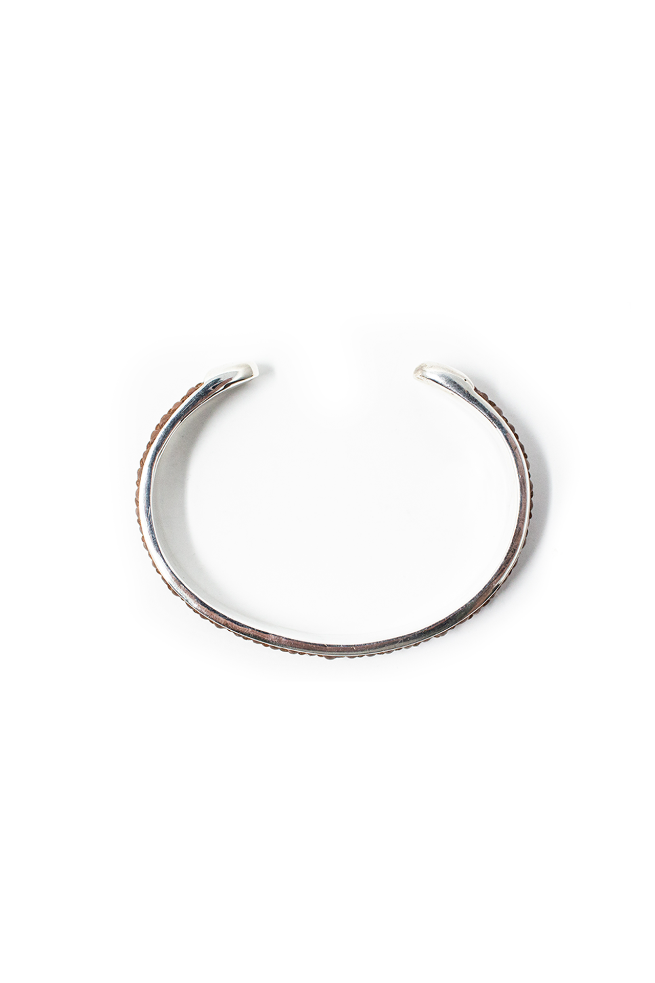 Aerial View Silver Satin Finish Bangle With Brown Leather