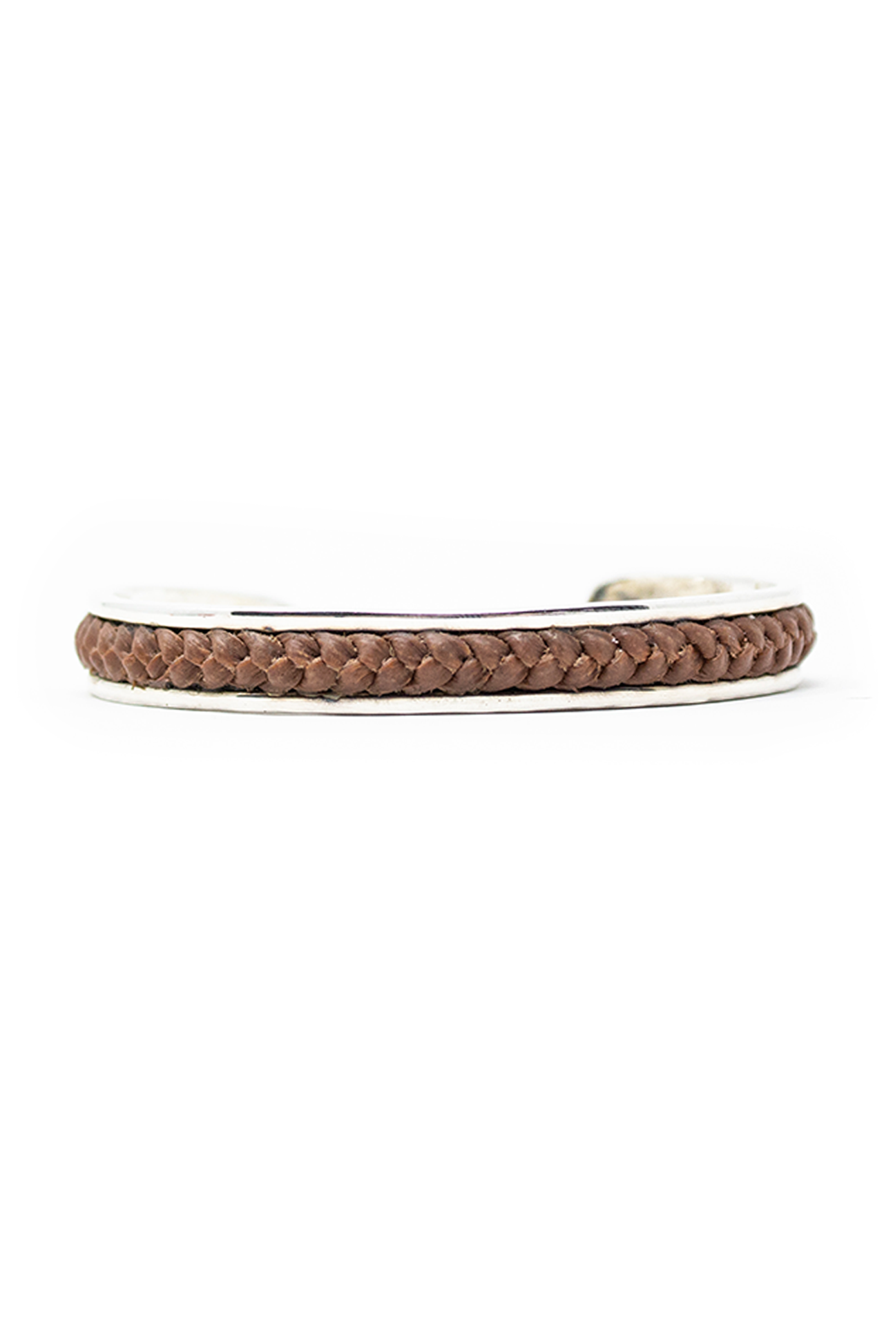Silver Satin Finish Bangle With Brown Leather