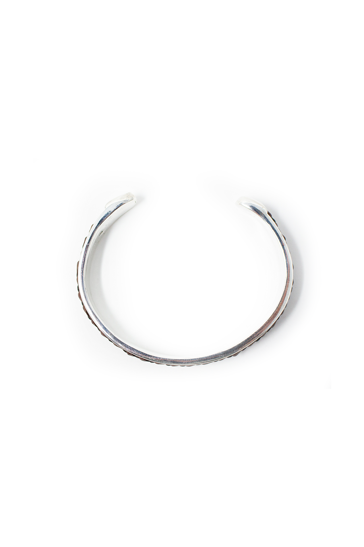 Aerial View Silver Satin Finish Bangle With Dark Brown Leather