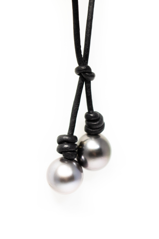 Pearl pendant detail image of John Varvatos Lariat Necklace With Tahitian Pearls