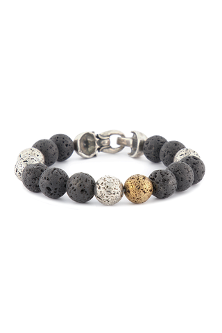 Lava Ball Bracelet With Skull Clasp