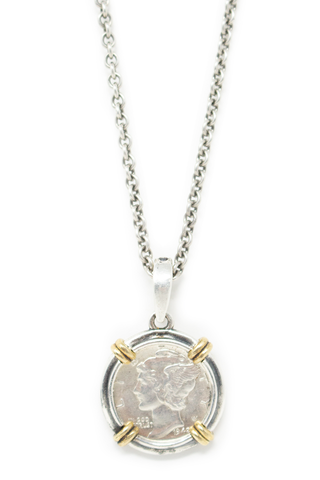 Front detail of coin pendant on John Varvatos Mercury Dime Pendant Necklace
