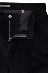 Waistline and zipper detail image of John Varvatos Men's Motor City Jean with Zip Fly Black