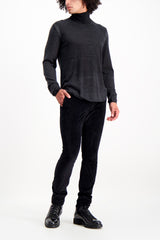 Full Body Image Of Model Wearing John Varvatos Men's Motor City Jean with Zip Fly Black