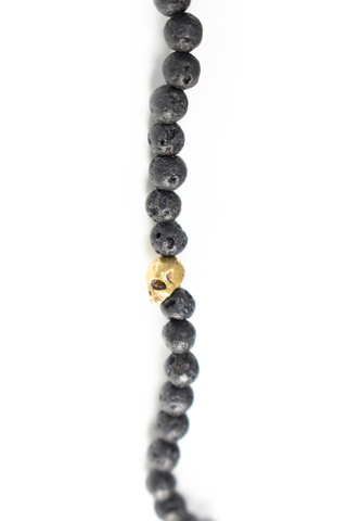 Close up detail image of John Varvatos Skull Beaded Necklace