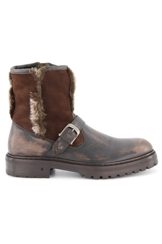 Side view image of John Varvatos Union Shearling Moto Boot