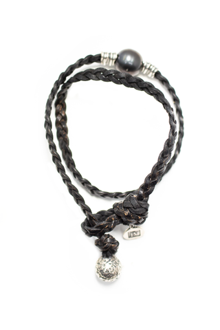 Front image of John Varvatos Wrap Braided Leather Bracelet