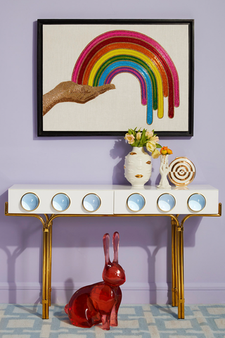 Jonathan Adler Lifestyle Image with Rainbow Hand Beaded Wall Art
