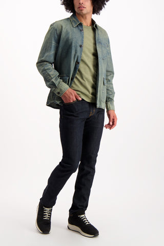 Full Body Image Of Model Wearing Darren Star Sport Worker Shirt