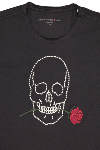 Neckline Detail Image of JV Star USA Skull Rose T-Shirt