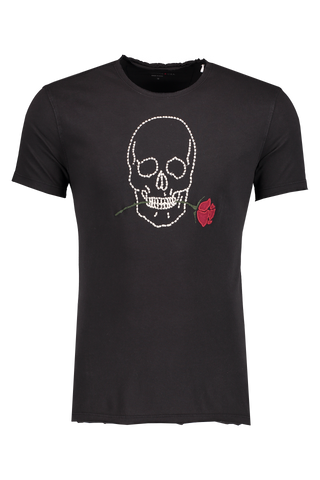 Front Image of JV Star USA Skull Rose T-Shirt