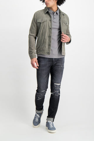 Full Body Image Of Model Wearing Image Of JV Star USA Steven Suede Trucker Pebble Grey Heather