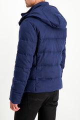 Back Crop Image Of Model Wearing Kired Bulnes Down Jacket Blue