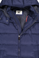 Front zipper and hood detail image of Kired Bulnes Down Jacket Blue