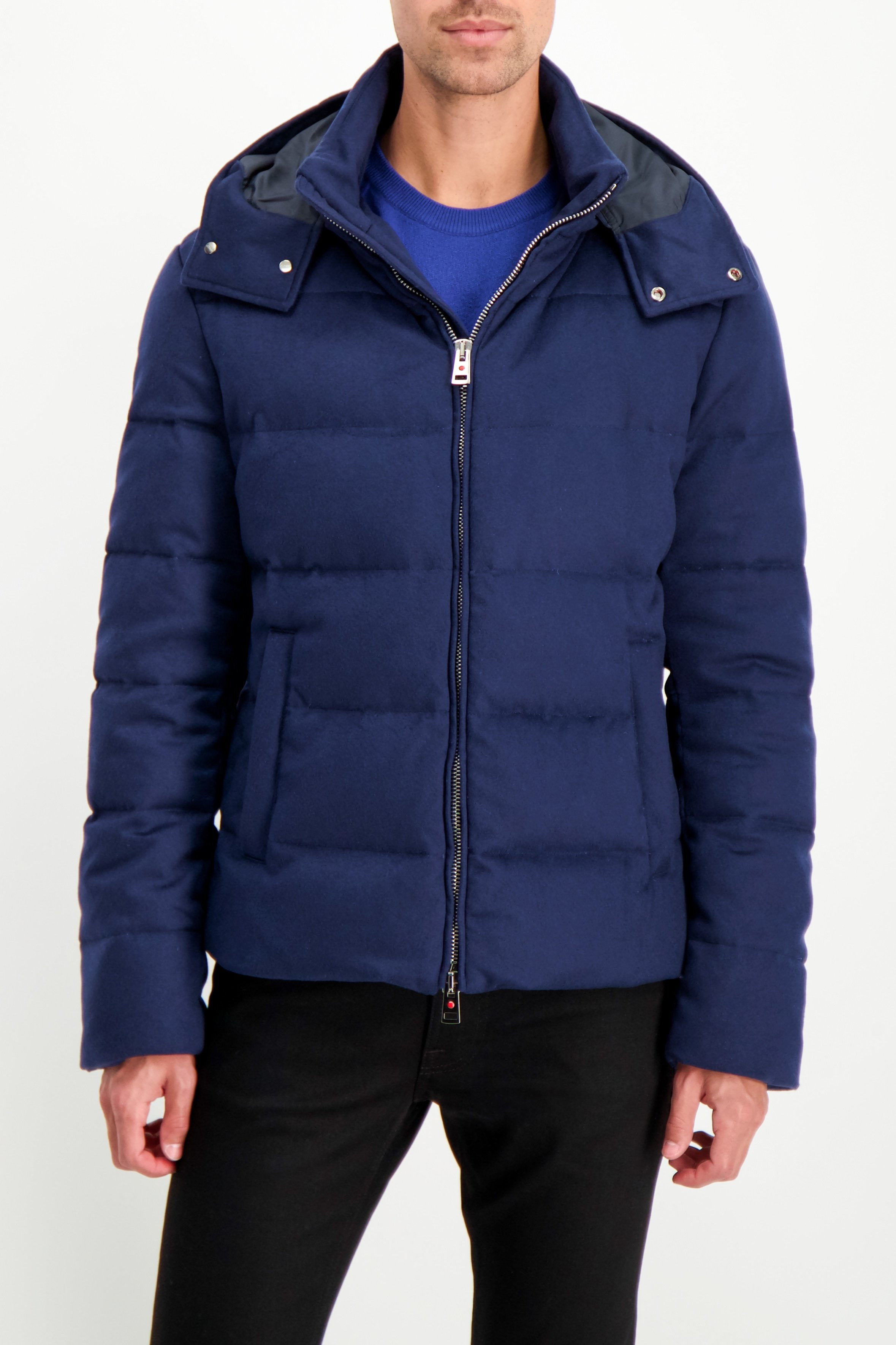 Front Crop Image Of Model Wearing Kired Bulnes Down Jacket Blue