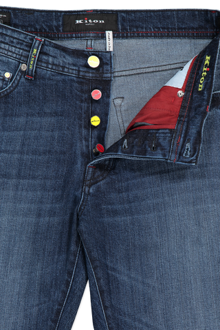 Front button fly detail image of Kiton Denim
