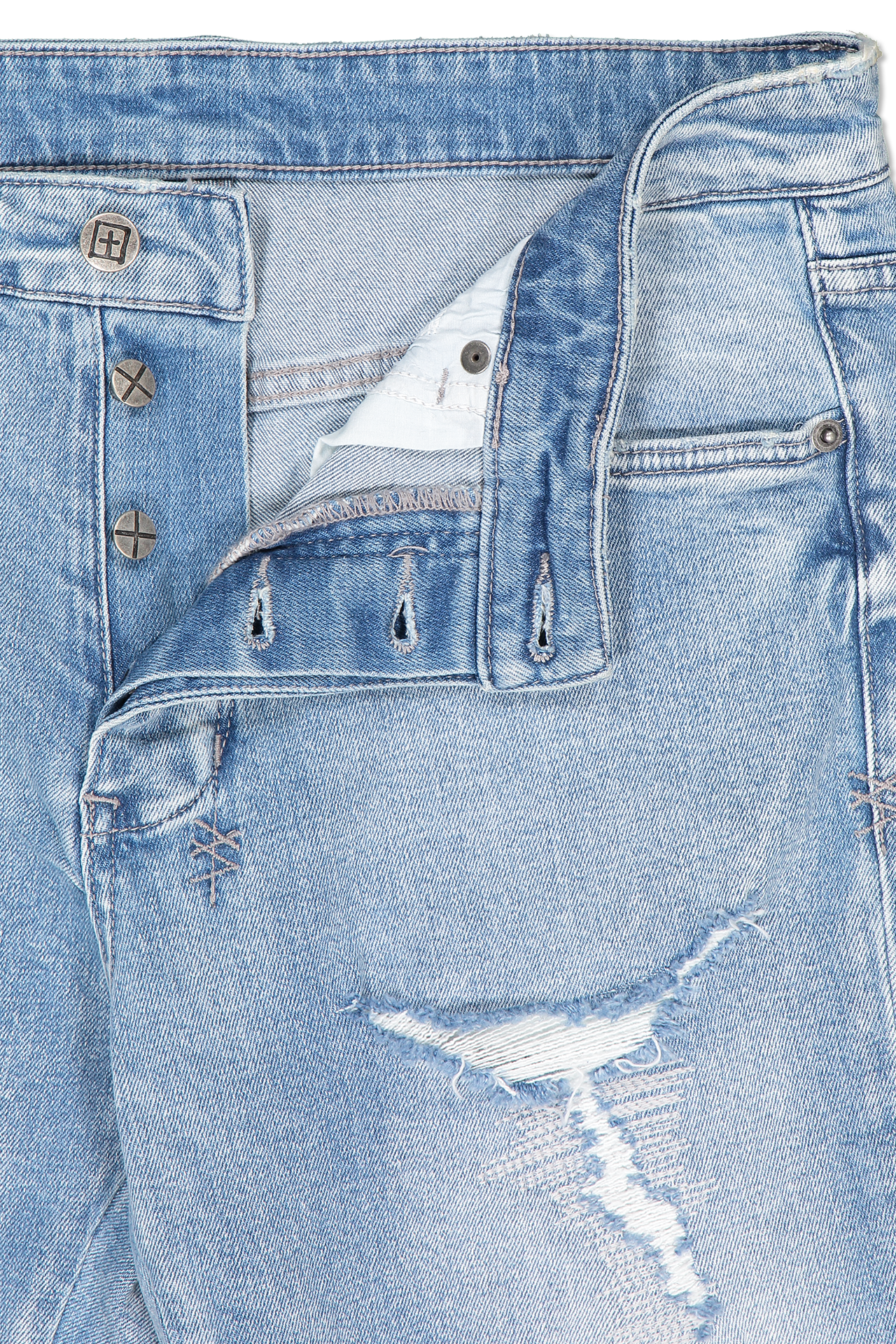 Button closure detail image of KSUBI Chitch Punk Blue Thrashed Denim