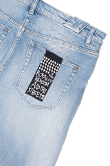 Back pocket detail image of KSUBI Chitch Punk Blue Thrashed Denim