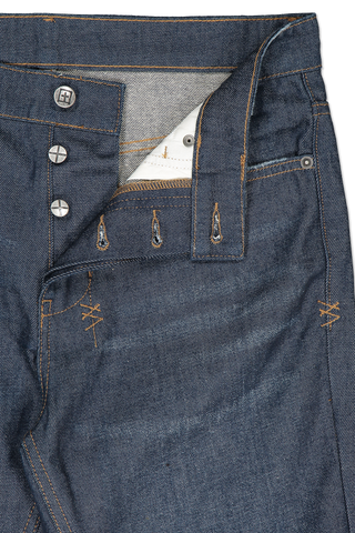 Front waistline and button fly detail image of KSUBI Chitch Real Deal Denim