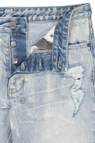 Waistline and button fly detail image of Ksubi Chitch Stoked Scribe Denim