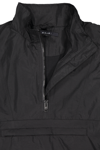 Front collar and detail image of Ksubi Sequence Funnel Neck Jacket Black